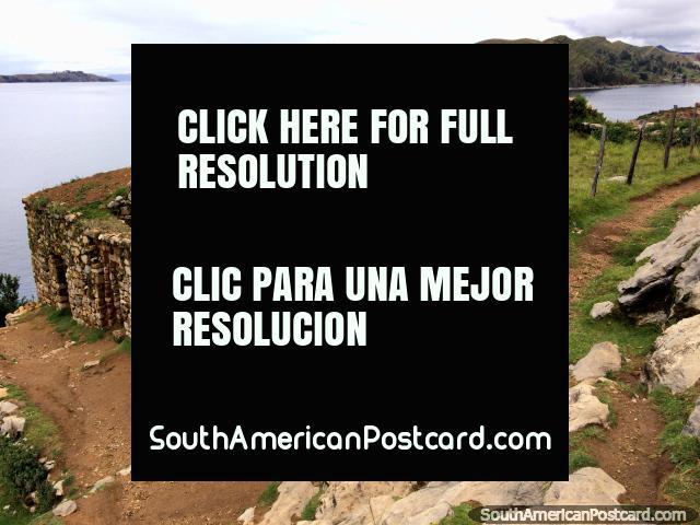 Stone ruins on the dark side of the island of the sun, Lake Titicaca, Copacabana. (640x480px). Bolivia, South America.