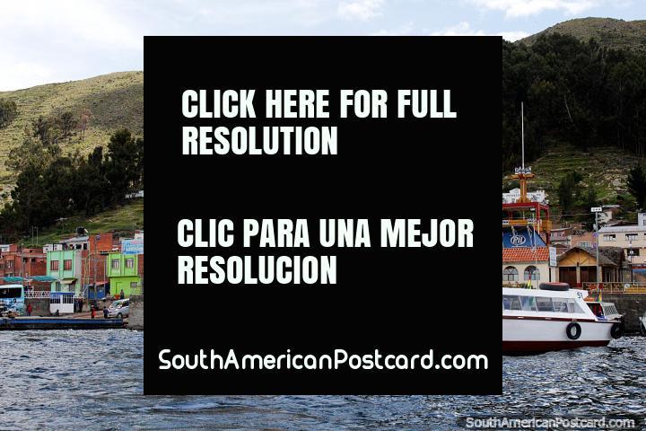 San Pedro de Tiquina, cross the strait to San Pablo de Tiquina by boat. (720x480px). Bolivia, South America.