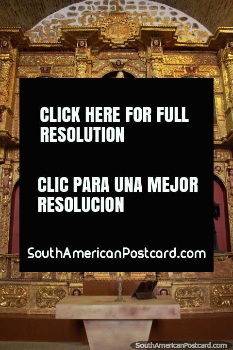 Golden altar, religious figures and paintings, the church inside La Casa de Moneda in Potosi. (480x720px). Bolivia, South America.