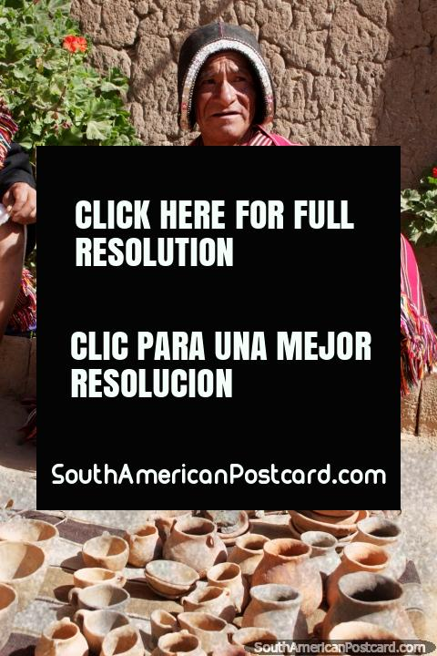 Indigenous man from Puka-Puka makes ceramic pots, bowls and urns, a traditional shawl. (480x720px). Bolivia, South America.
