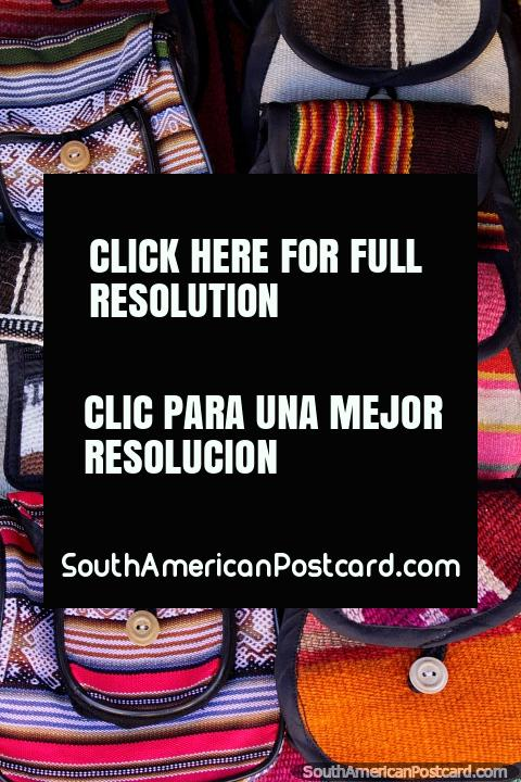 Bags with beautiful designs and colors, woven by the women in Puka-Puka. (480x720px). Bolivia, South America.