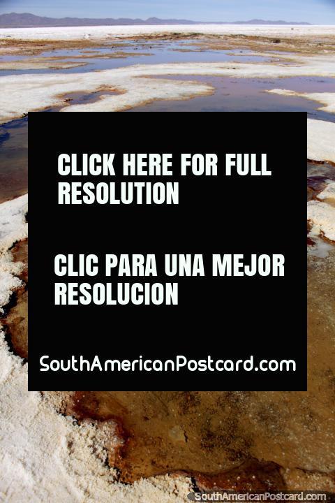 Los ojos de las salinas, un lugar con agua burbujeante y minerales en Uyuni. (480x720px). Bolivia, Sudamerica.
