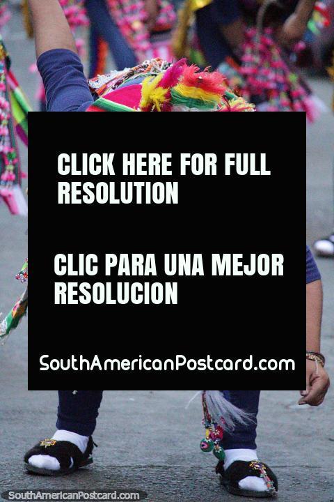 Amazing technicolor hat, a dancer gets down at the El Gran Poder parade in La Paz. (480x720px). Bolivia, South America.