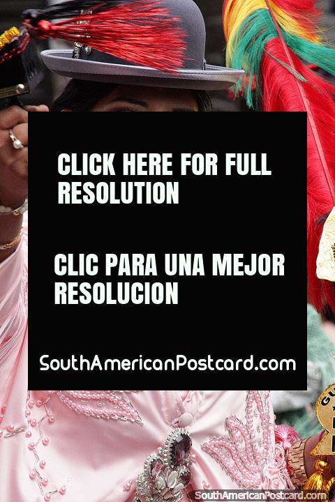 A woman celebrates the cultural expression of the El Gran Poder festival in La Paz. (480x720px). Bolivia, South America.