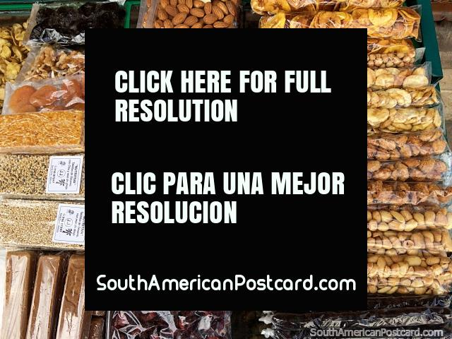 Healthy street food, of Brazil nuts, walnuts, cashew nuts, pecans and dried fruit in Sucre. (640x480px). Bolivia, South America.