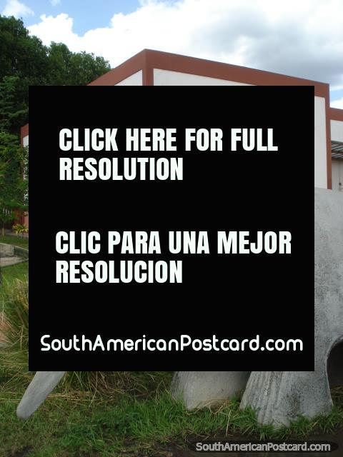 The anteater sculpture in the historical area beside Rio Branco in Boa Vista. (480x640px). Brazil, South America.