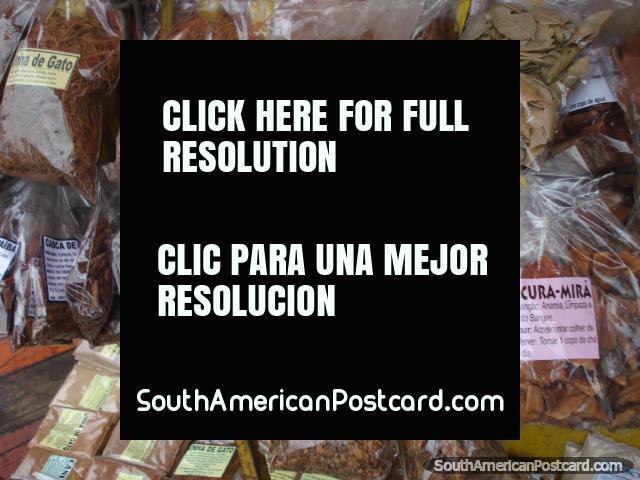 Remedies for sale in Manaus markets, Unha de Gato, Raiz de Acai, Saracura Mira. (640x480px). Brazil, South America.