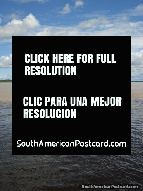 Las aguas bravas y negras, también conocidas como aguas negras y blancas, cerca de Manaus. (480x640px). Brazil, Sudamerica.