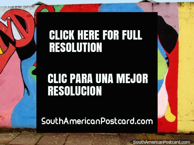 Cara de mucha colores, mural en la pared en Porto Alegre. (640x480px). Brasil, Sudamerica.