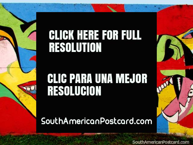 2 faces wall mural, many colors, mardi-gras, Porto Alegre. (640x480px). Brazil, South America.