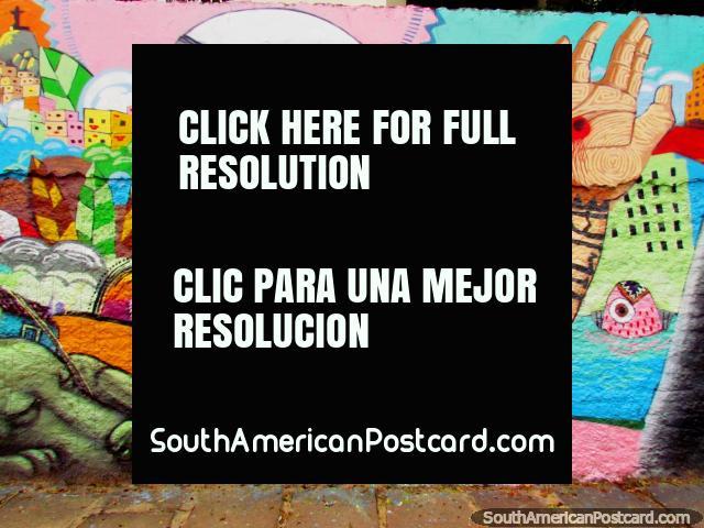 Eagleman tiene la bala a través de su mano, arte de la pared en Porto Alegre. (640x480px). Brasil, Sudamerica.