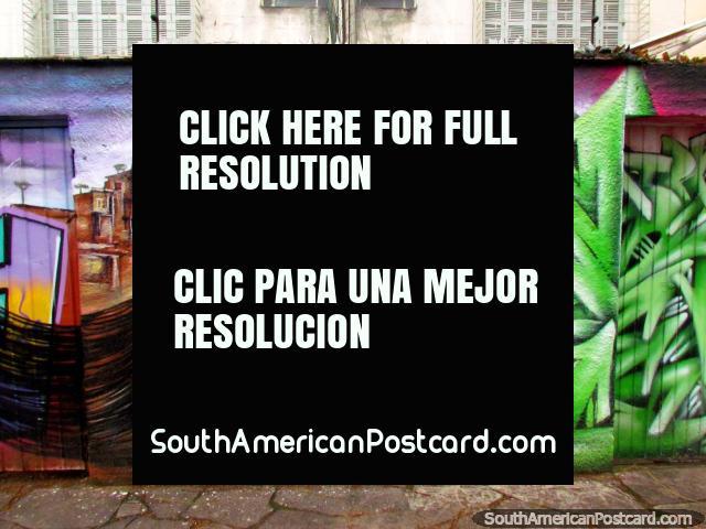Pretty girl with long black hair street art in Porto Alegre. (640x480px). Brazil, South America.