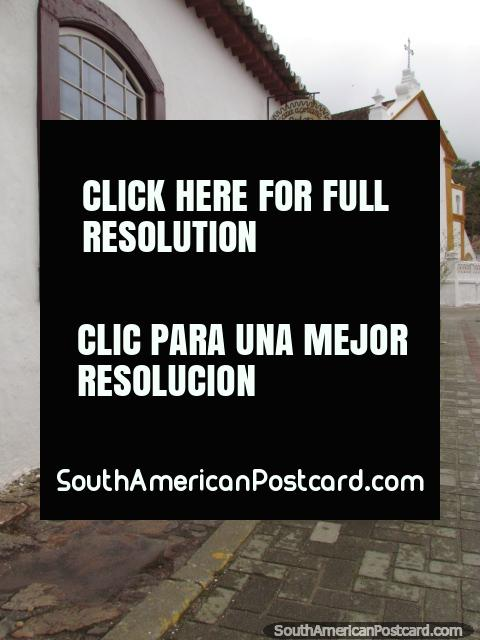Pot plants, art shop, restaurant, church, Santo Antonio, Florianopolis. (480x640px). Brazil, South America.