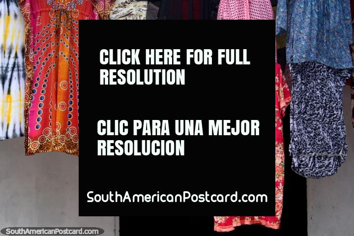 Dresses for sale at a women's fashion shop in Alter do Chao near Santarem. (720x480px). Brazil, South America.