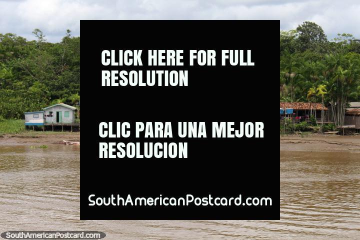 Una comunidad pequeña Amazon con una iglesia al lado del Río Parauau, al norte de Breves. (720x480px). Brasil, Sudamerica.