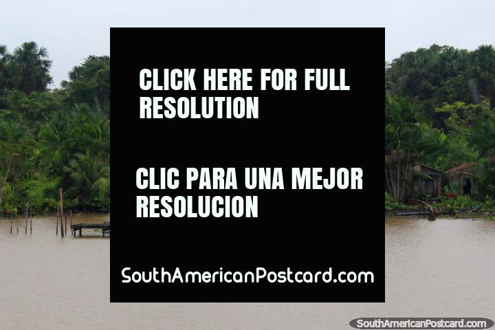 Igreja Pentecostal Deus e Amor, a church with a jetty in the Amazon jungle. (720x480px). Brazil, South America.