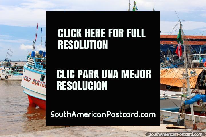 Cigüeña blanca, barcos de pesca y el edificio del Mercado Ver-o-Peso en Belem. (720x480px). Brazil, Sudamerica.