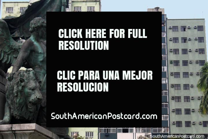 Bronze monument and bronze buildings, plaza Praca da Republica in Belem. (720x480px). Brazil, South America.