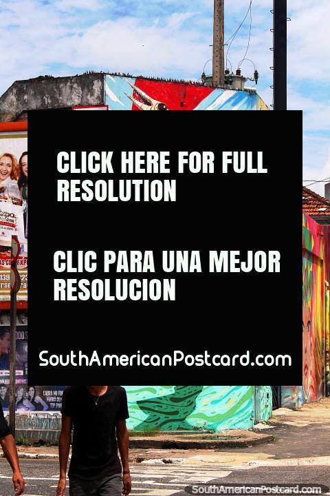 Clown con un sombrero de piel de cocodrilo, arte de la pared en Belem. (480x720px). Brasil, Sudamerica.