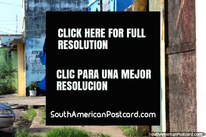 O mural de parede de um equipa a cara em uma velha rua perto do porto em Belém. (720x480px). Brasil, América do Sul.