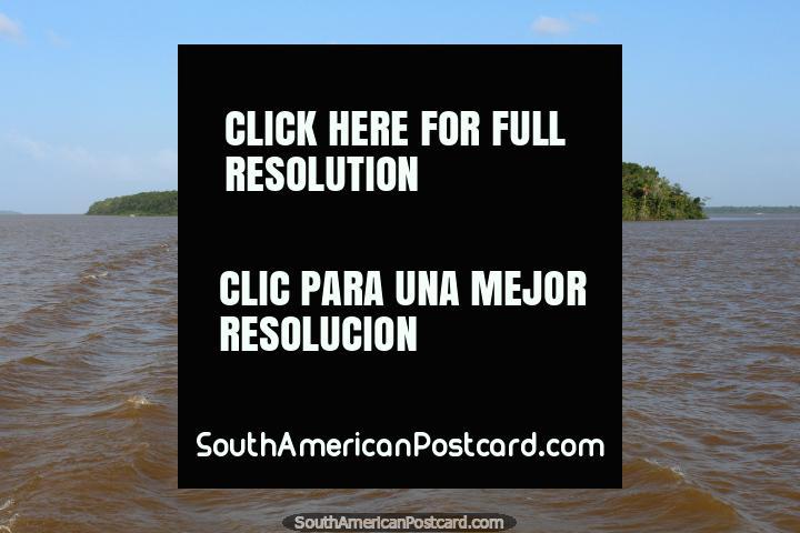 Un par de islas bollo de hamburguesa en el medio del río en el Amazonas, al oeste de Belem. (720x480px). Brasil, Sudamerica.