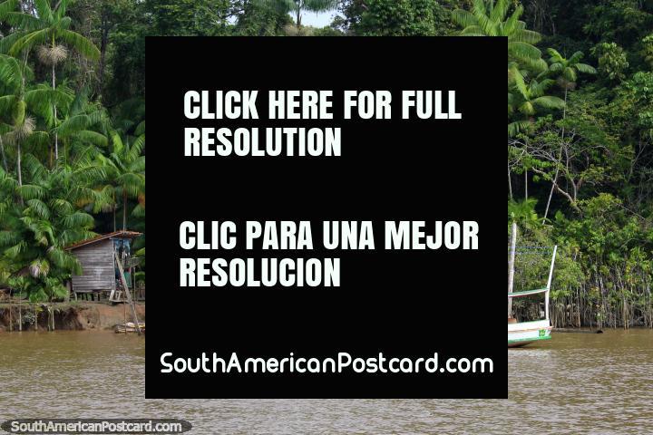 DOS de B/M Rei Reis, um barco de Amazônia do lado de fora de casas ao sul de Macapa. (720x480px). Brasil, América do Sul.