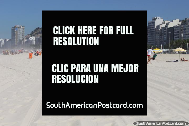 Fine white sands, apartments, Copacabana Beach in Rio de Janeiro. (720x480px). Brazil, South America.