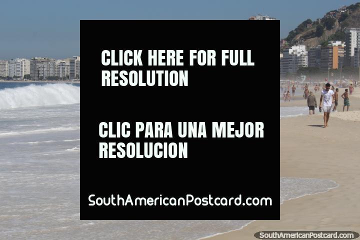 A long beach with apartments at the back, Copacabana, Rio de Janeiro. (720x480px). Brazil, South America.