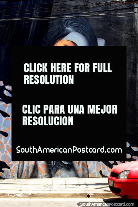 Hermosa mujer con un tatuaje en el brazo, gran mural alrededor de Vila Madalena, Sao Paulo. (480x720px). Brasil, Sudamerica.