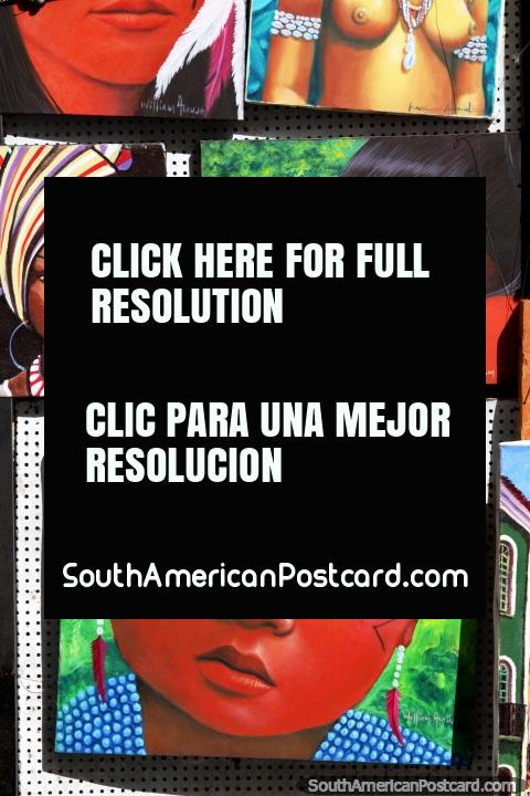 Pinturas de rostros de niños nativos en venta en las calles de Salvador. (480x720px). Brasil, Sudamerica.