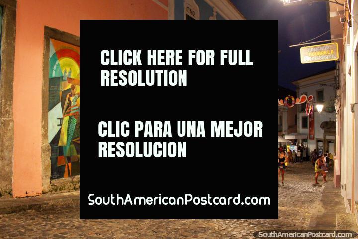 Pelourinho streets at night, art on the street walls, cobblestones, Salvador. (720x480px). Brazil, South America.