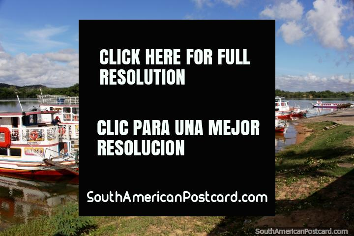 Passenger ferries docked in Penedo, for traveling the Sao Francisco River. (720x480px). Brazil, South America.