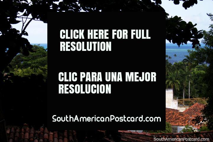 Bela visão em Olinda do mar, palmeiras e igreja, tanto verde! (720x480px). Brasil, América do Sul.