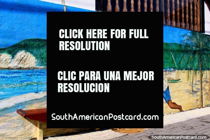 Mural de Ponta Negra y Morro do Careca, 2 hombres empujan un barco (asiento) hacia el mar. (720x480px). Brasil, Sudamerica.