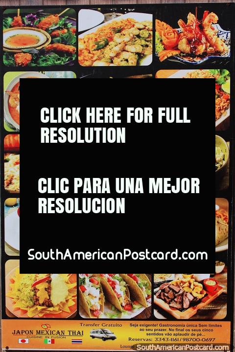 La comida se ve deliciosa en el Restaurante Mestre dos Mares en la Playa Ponta Negra, Natal. (480x720px). Brasil, Sudamerica.