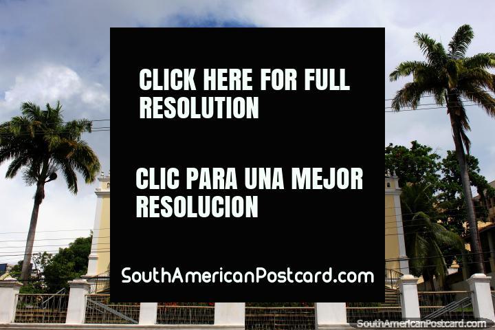 Edificio Solar Bela Vista con una sola palmera en cada lado, centro de cultura y recreación en Natal. (720x480px). Brasil, Sudamerica.