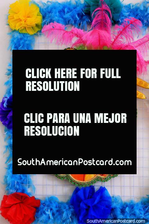 Carmen Miranda (1909-1955), samba singer and dancer, colorful memorial in Sao Luis. (480x720px). Brazil, South America.