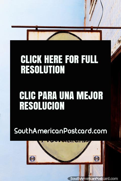 Catarina Mina Bar and Restaurant, nice sign outside, Sao Luis historic center. (480x720px). Brazil, South America.