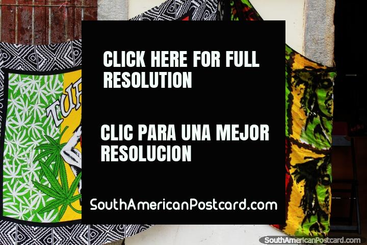 Tuff Gong, Reggae and Bob Marley towels in Sao Luis. (720x480px). Brazil, South America.