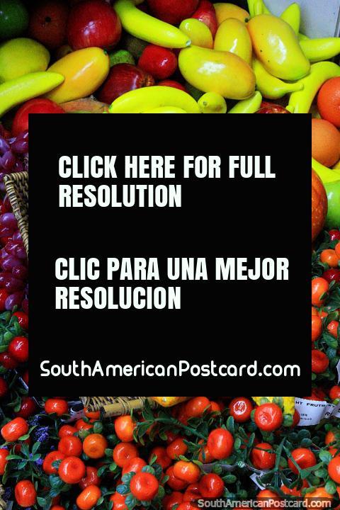 Corn, bananas, pumpkin and mango, plastic fruit at Central Market, Belo Horizonte. (480x720px). Brazil, South America.