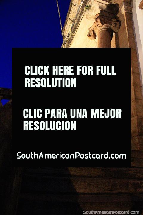 Columns and stone, Baroque architecture at night in Ouro Preto. (480x720px). Brazil, South America.