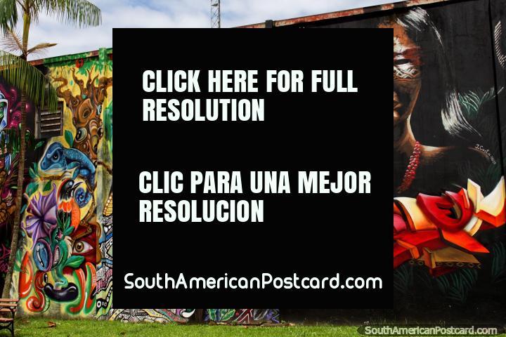 Increíble mural con rostros indígenas y un lagarto azul en Rio Branco, una obra encargada. (720x480px). Brasil, Sudamerica.