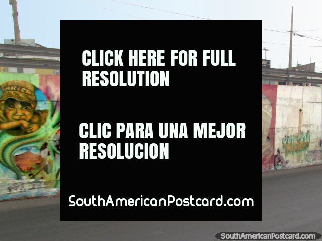 Some indigenous graffiti art under a bridge in Arica. (640x480px). Chile, South America.