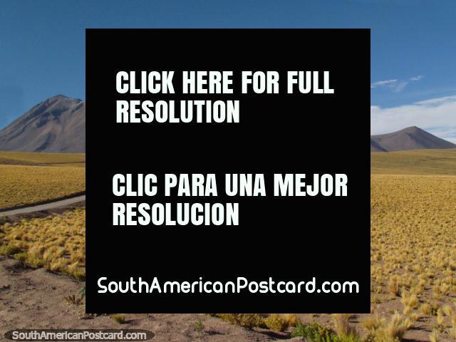 El camino corta y encorva su camino a través del desierto en San Pedro de Atacama. (640x480px). Chile, Sudamerica.