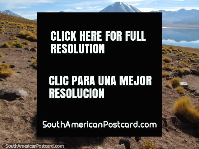 Montanhas cobertas de neve atrás de Lagoa Miscanti em San Pedro de Atacama. (640x480px). Chile, América do Sul.