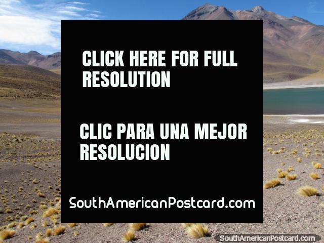 Miniques Lagoon, mountains and terrain at San Pedro de Atacama. (640x480px). Chile, South America.