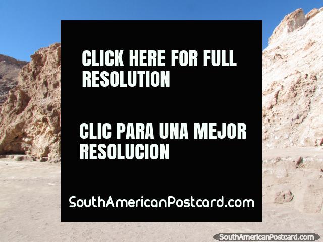 Walking into the salt caves (Cuevas de Sal) at the Valley of the Moon at San Pedro de Atacama. (640x480px). Chile, South America.