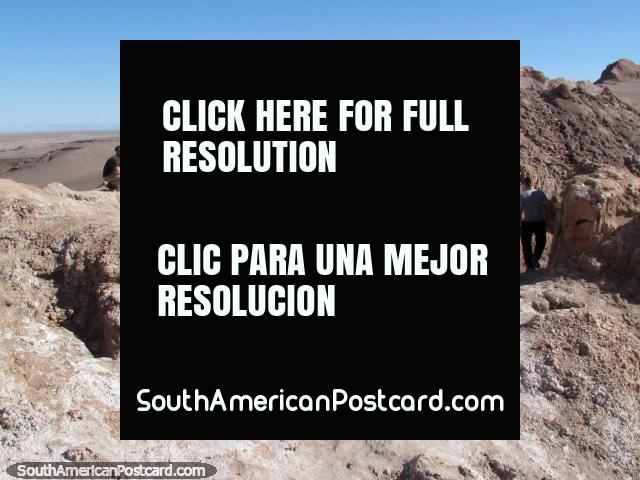 We exit the salt caves from the top at the Valley of the Moon, San Pedro de Atacama. (640x480px). Chile, South America.