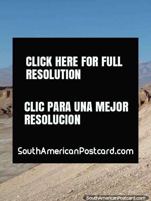 View from Valle de la Luna to the snow-capped mountains in the distance at San Pedro de Atacama. (480x640px). Chile, South America.