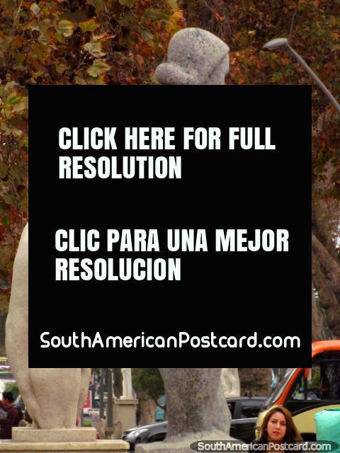 Naked statues along Avenida Francisco de Aguirre in La Serena. (480x640px). Chile, South America.